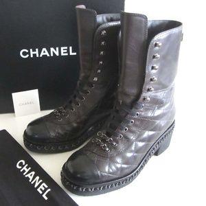 00a66de9b5c CHANEL CC quilted chain cap toe combat boots 37 7